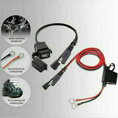 Waterproof Motorcycle 12V SAE to USB Port Phone GPS Charger Adapter Inline Fuse