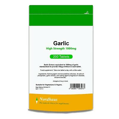 Garlic Tablets 1000mg (not capsules) with 700mcg Allicin 200/360/500 Nordhaus