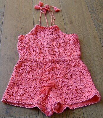 Witchery Girls Coral Lace Shortie Playsuit Sz 10