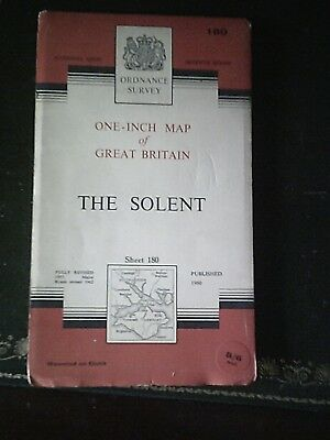 1960 old vintage OS Ordnance Survey Map Seventh Series 180 The Solent - on cloth