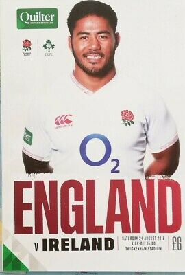 England v Ireland August 2019 RWC warm-up rugby programme Twickenham