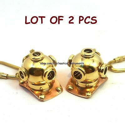 Lot of 2 Pcs Vintage Style Mini Diving Helmet Key Chain Collectible Gift