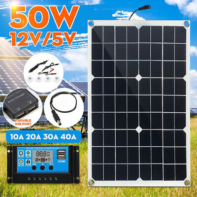 50W 12V Solar Panel Dual USB Battery Charger Car Boat +10/20/30/40A Controller