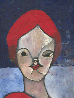 Ben Carrivick - Signed Contemporary Oil, Red/Blue Portrait