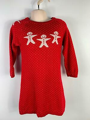 Girl Marks&Spencer Red White Gingerbread Pattern Knit Dress Kids Age 18-24 Month
