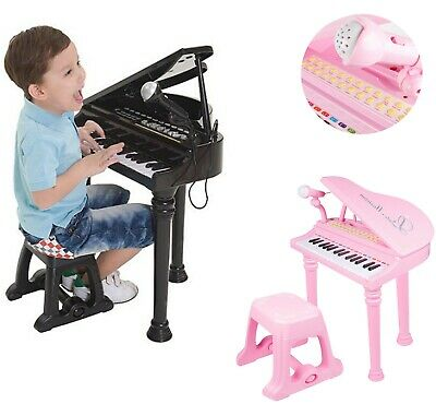 Childs Electronic Keyboard Grand Piano Musical Instrument Toy Microphone & Stool