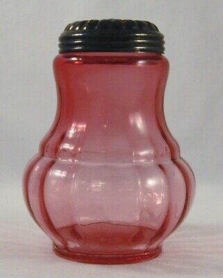 Antique Squat Shaped Clear Cranberry Glass Muffineer or Sugar Shaker