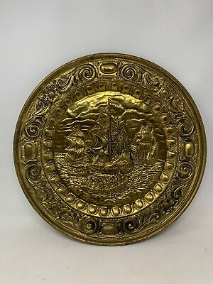 "Peerage England Brass Relief 17"" Wall Plate Raised Sailing Ship Vintage Htf"