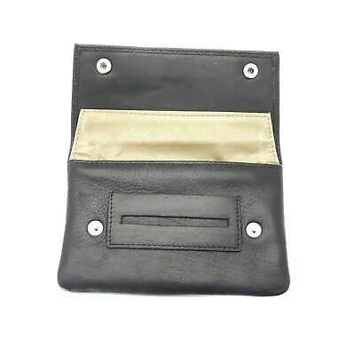 Premium Soft Black Leather Cigarette Rolling Tobacco Pouch Case Organizer