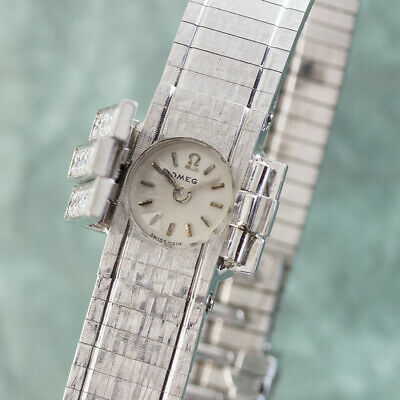 Omega Lady 18k White Gold Hand Wound Women's Watch Gold Vintage VP