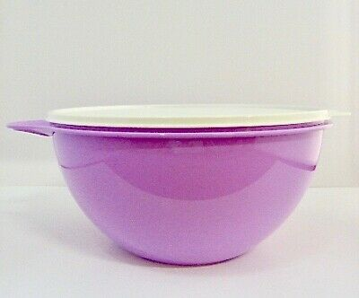 New Tupperware Mixing Purple Bowl Ultra Tazon Seal 1 Gal 4.5L Medium - Beige Top