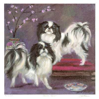 JAPANESE CHIN TOY DOG FINE ART LIMITED EDITION PRINT - by the late Julie Stooks