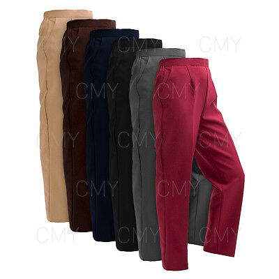 Pack Of 2 New Womens Ladies Half Elasticated Waist Trousers Pockets Plus Sizes
