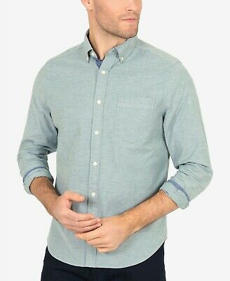 $140 Nautica Men'S Classic Fit Stretch Long-Sleeve Buttondown Solid Shirt Size M
