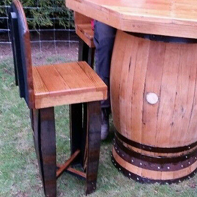 Octagonal Top Solid Oak Bar Table and 4 Stools Set from Recycled Whiskey Casks