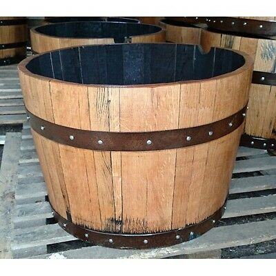 Large Recycled Solid Oak Wooden Half Whisky Barrel Planter  Garden Ornament