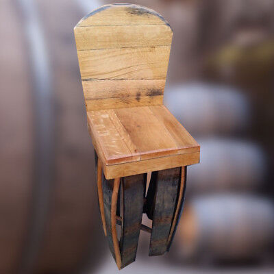 Recycled Wooden Solid Oak Whiskey Barrel Stave Bar Stool with Back | vintage
