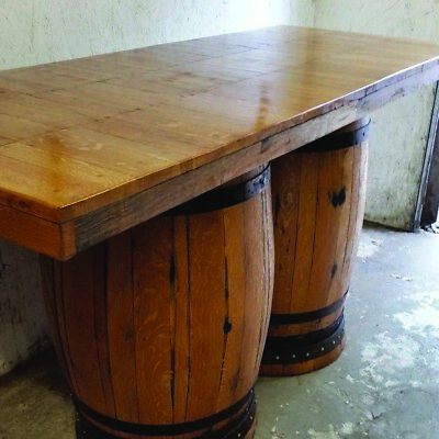 Recycled Solid Wooden Oak Double Whiskey Cask Bar Table | Patio Table