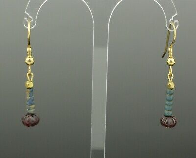 Beautiful Ancient Egyptian New Kingdom Faience & Ruby Bead Earrings -1700 Bc 808