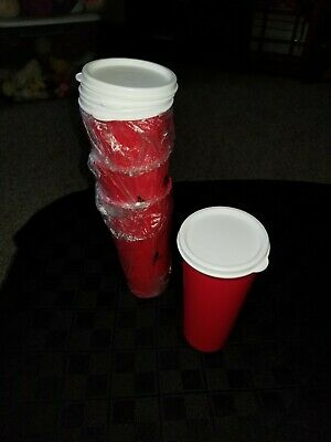 New Tupperware Set Of (4) 16 Oz Bright Red Tumblers With White Seals