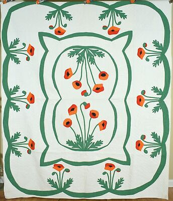 """WELL QUILTED Vintage 30's Mountain Mist """"Painted Poppies"""" Applique Antique Quilt"""