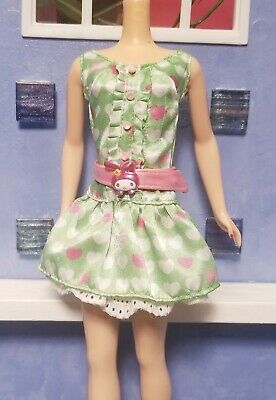 NEW Barbie Hello Kitty My Melody Doll Green Pink White Dress Model Muse Clothing