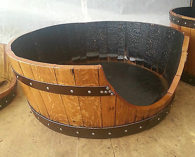Solid Wooden Oak Recycled Whisky Barrel Dog Bed Cat bed with Zanzibar Cushion