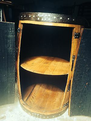 Recycled Solid Oak Whisky Barrel Wooden Drinks cabinet Wine Rack Vintage