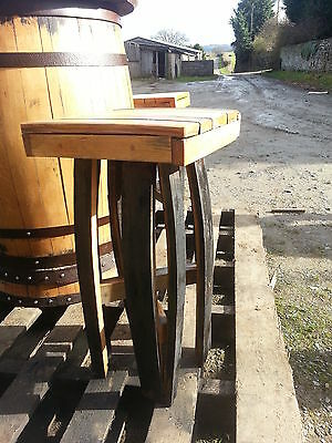 Solid Wooden Oak Recycled Whisky Keg Stave Bar Stool Patio Furniture Vintage