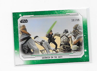 2019 Topps Star Wars Skywalker Saga #68 Skirmish On The Skiff Green /99