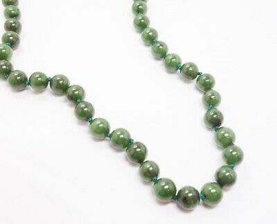 "Fine Estate Vintage 1950s/60s 14K Yellow Gold Spinach Jade Bead 19"" Necklace"