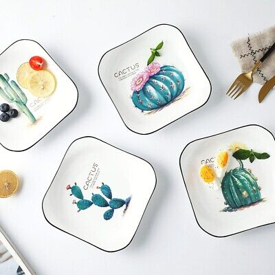 Creative Ceramic Western Food Dish Green Plant Paint Tray Kitchen Rice Soup Bowl