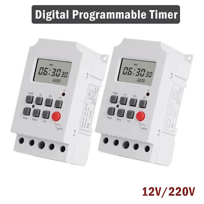 12V/220V 30A LCD Digital Electronic Programmable Time Control Timer Switch