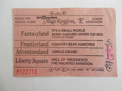 Early 1970s Magic Kingdom Attraction E Coupon From Ticket Book Walt Disney World