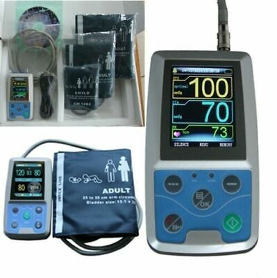US NIBP Monitor 24HOUR Ambulatory Blood Pressure Holter ABPM 50+3Cuffs FDA