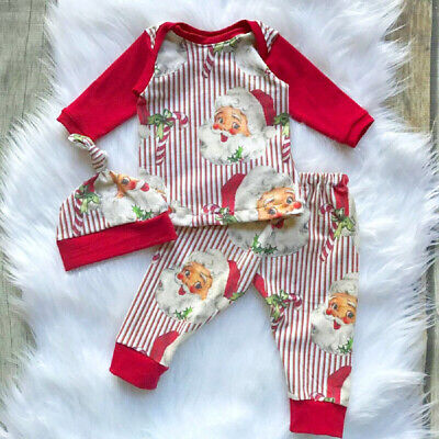UK Newborn Baby Boy Girl Christmas Top Pants Xmas Striped Cotton Outfit Clothes