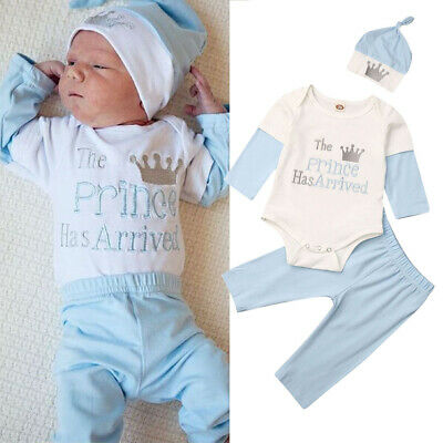 UK Newborn Infant Baby Boy Girl Clothes Romper Pants Trousers Hat Cotton Outfit
