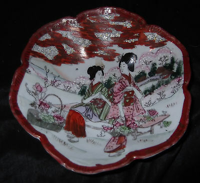 Vtg Geisha Cherry Blossoms Scalloped Nippon Kutani Big Footed Nut Bowl Porcelain