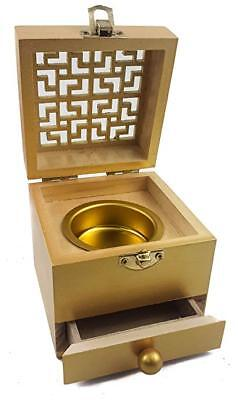 Wooden Charcoal Incense Burner Resin Holder Gold Natural Wood Box Distiller