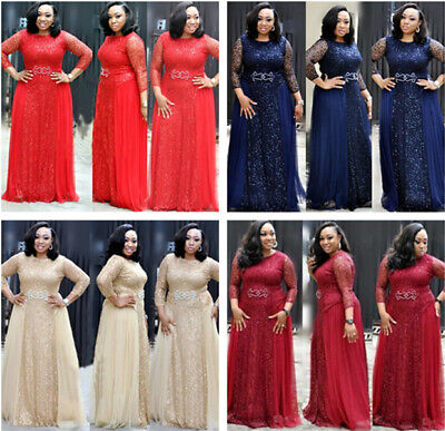 2019 African Beaded Lace sequins Evening Dress Sequined Split Prom Party Gown