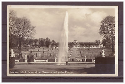Postcard - Potsdam - Castle Sanssouci with Terrace and Large Fontaine Ak