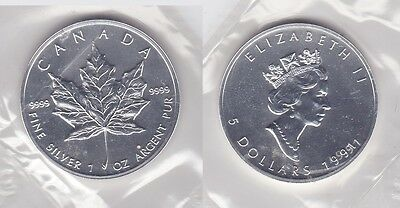 5 Dollar Silber Münze Canada Kanada Maple Leaf 1991 (118028)
