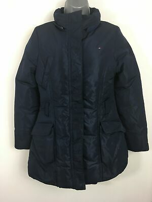 Girls Childs Tommy Hilfiger Metallic Navy Blue Zip Up Padded Fitted Coat Age 14