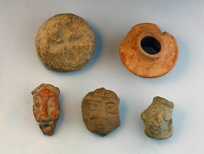 *Sc*Lot Of Pre Columbian Pottery Heads, Clay Tablet & Fragment Mexico 500 Bc-500