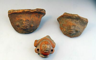 *Sc*Lot Of Three Pre Columbian Pottery Fragments & Head Mexico 500 Bc - 500 Ad!