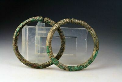 *SC*RARE PAIR OF LURISTAN BRONZE BRACELETS w. DECORATED TERMINALS, 800-600 BC!