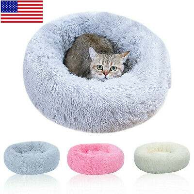 Soft Plush Washable Pet Dog Cat Calming Bed Round Nest Warm Sleeping Bag Cushion