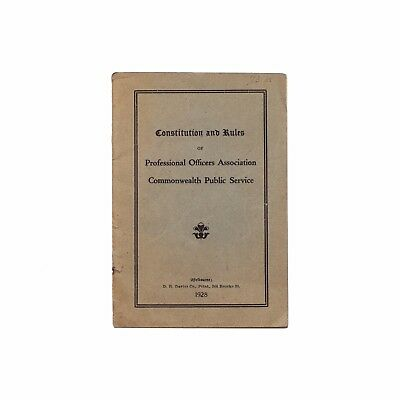 "Vintage 1928 pamphlet re. "" Officers Association Commonwealth Public Service """