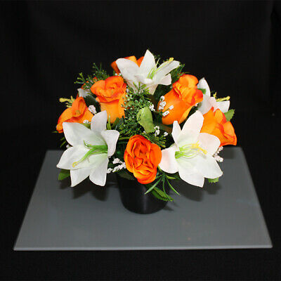 Artificial Silk Flower Grave Pot  Memorial Tribute vase arrangement crem pot