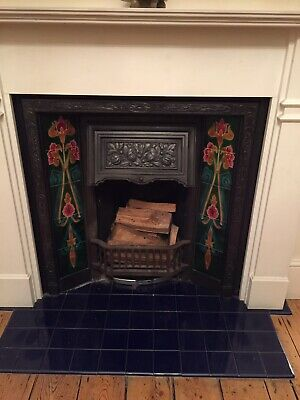 Victorian Cast Iron Tiled Surround with Wood Mantle
